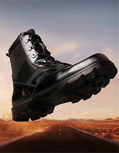 Rainstar Hommes Lace Up Martin Bottines Noir Moto Chaussure De Combat Boot Noir