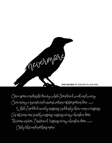 (Nevermore - 11x14 Unframed Art Print, The Raven by Edgar Alan Poe Halloween Decor, Goth party decoration, Poetry)