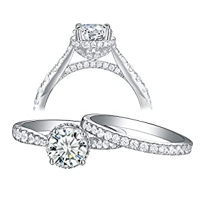 Wuziwen Wedding Rings for Women Engagement Ring Set 925 Sterling Silver 2.5Ct Round AAA Cz Size 7