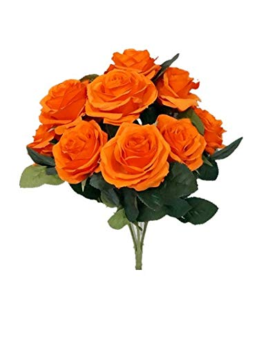 Sweet Home Deco 18'' Princess Diana Rose Silk Artificial Flower Valentine's Day (10 Stems/10 Flower Heads), The Most Beautiful Roses for Wedding/Home Decor (Deep Orange)
