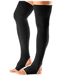 ToeSox Women's Thigh High Ribbed Knit Open Heel Leg Warmer for Dance, Yoga