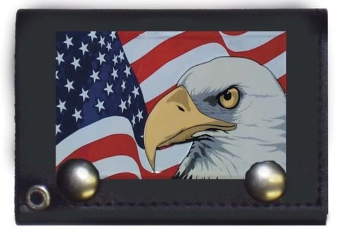 - Moon Knives Patriotic Eagle USA American Black Genuine Leather Wallet With Chain (4 inch) - Party Decorations Supplies For Parades - Prime Outside, Garden, Men Cave Decor Flag