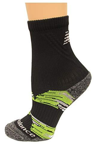 New Balance Cushioned Trail Short Crew Socks, (L) Men's 9-12.5/ Women's 10-12, Black/Yellow, 1 ()