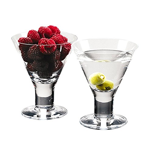 Caprice - Set of 4 Mouth blown Lead Free Crystal Martini or Dessert Servers - 6 Oz H4.5