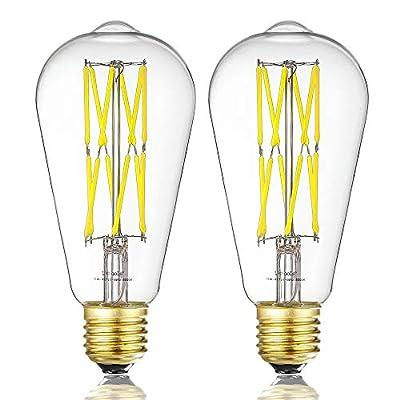 Edison Style Vintage LED Filament Light Bulb 12W?ST64(ST21) Led Retro Bulb,100 Watt Equivalent Light Bulbs,Warm White 2700K,1200LM,Dimmable, E26 Medium Base Lamp, Antique Shape, (2 Pack)
