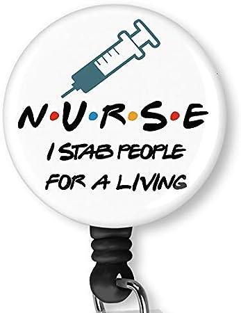 Nurse Retractable Badge Reel with Alligator Clip,Name Nurse ID Card Badge Holder Reel Decorative Custom Badge Holder