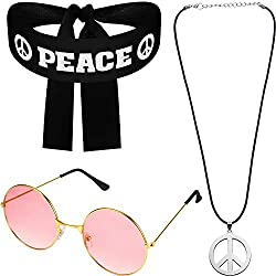 Hippie Costume Set for Women Men, Includes Sunglasses, Peace Sign Necklace and Peace Sign Headband for 60s 70s Party Accessories Peace Set