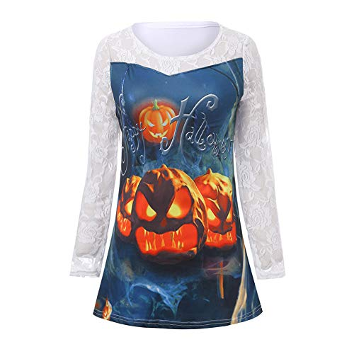 Sweatshirts for Women Hoodie Pullover,Women's Plus Sweaters,Happy Halloween Pumpkin Casual Lace Tops,White,M]()