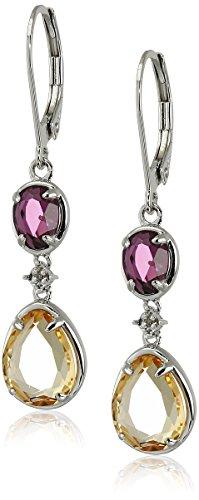 Sterling Silver Citrine, Rhodolite-Garnet and Diamond Accent Pebbles Drop - Garnet Accents Rhodolite