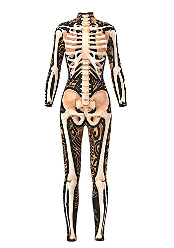 Apiidoo Women's 3D Style Halloween Skeleton Catsuit Costume Jumpsuit Bodysuit bds97007 L -