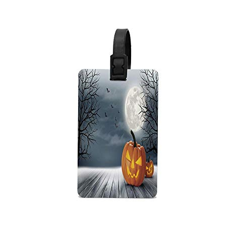 Biekxrso Cold Foggy Night Dramatic Full Moon Pumpkins on Wood Board Trees Print Personalized Luggage Tag Customized Travel ID Tag Identification Label For Baggage Suitcase