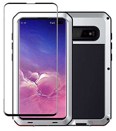 Galaxy S10 Case, Military Grade Drop Tested, Anodized Aluminum, Heavy Duty, Full-Body Dual Layer Rugged, TPU and Metal Protective Case for Samsung Galaxy S10 (Silver)
