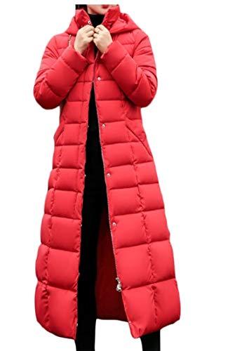 EKU Women Long Down Parka Coat Winter Thicken Slim Fur Hood Jacket Red