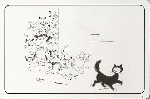 FRENCH VINTAGE PLACEMAT RETRO AD THE CAT BY DUBOUT TOM CHASES
