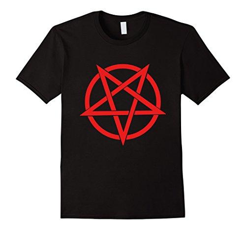 Mens Red Inverted Pentagram Tee Shirt Large Black