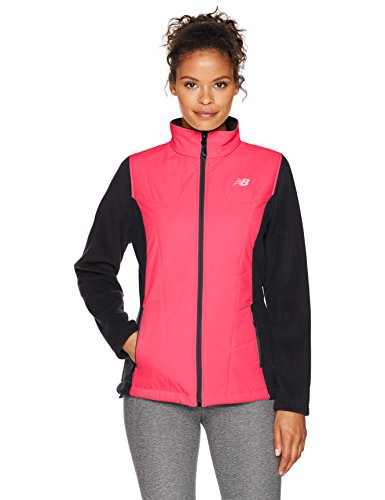 New Balance - Outdoors Fleece Mock Neck with Overlay Outerwear, Bright Cherry/Orca, Medium