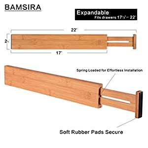 """BAMSIRA Bamboo Kitchen Drawer Dividers Expandable Adjustable Drawer Organizer Dividers Adjust from 22″ to 17½"""" Set of 4"""