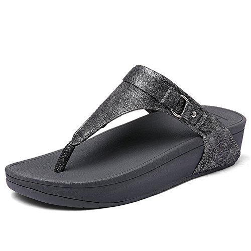 SHAKE Women's Leather Buckle Flip-Flops Summer Fashion Wedge Toe-Thong Sandals for Female (5.5US=Women EU 36, R031 Grey)