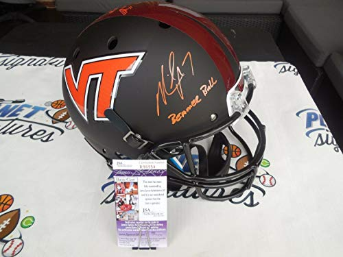 Michael Vick Autographed Signed Memorabilia Virginia Tech Vt Hokies Full Sze Helmet Beamer Ball - JSA Authentic