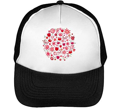 Flower Pattern Circle Gorras Hombre Snapback Beisbol Negro Blanco