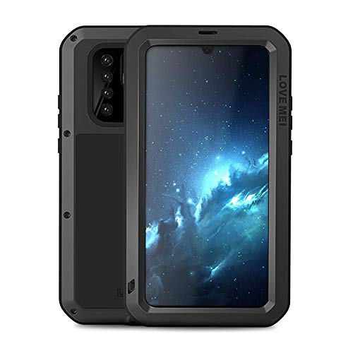 Huawei P30 Pro Case,Bpowe Armor Tank Aluminum Metal Gorilla Glass Shockproof Military Heavy Duty Sturdy Protector Cover Hard Case for Huawei P30 Pro (Black)