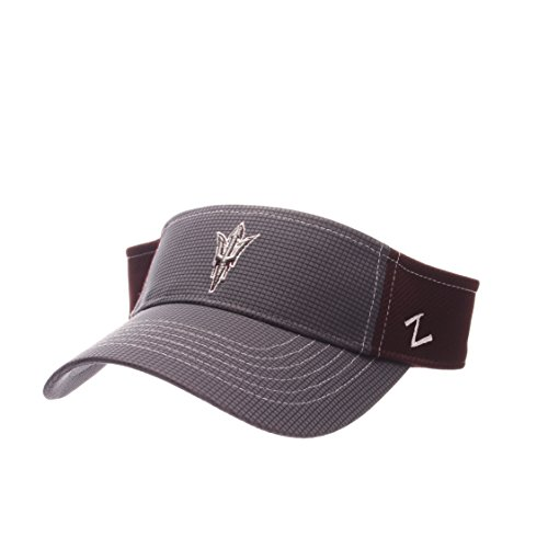 Arizona State Sun Devils Visor - Zephyr NCAA Arizona State Sun Devils Adult Men's Grid Visor, Adjustable Size, Gray/Team Color