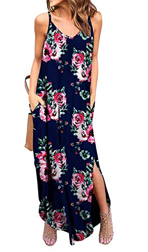 (GRECERELLE Women's Summer Casual Loose Dress Spaghetti Strap Beach Cover Up Long Cami Floral Print Casual Maxi Dresses with Pocket FP Navy Blue-M)