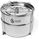 Stackable Steamer Insert Pans - instant pot Accessories for 6,8 qt by SMART COOKING IDEAS-Baking-Casseroles-Lasagna Pans- Food Cooker- Upgraded Interchangeable Lid-Instapot accessories.