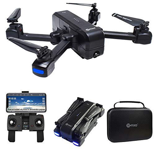 Contixo F22 RC Foldable Quadcopter Drone | Selfie, Gesture, 1080p WiFi Camera, GPS, Altitude Hold, Auto Hover, First Person View FPV, Follow Me, Waypoint Includes Compact Drone Storage Carrying Case