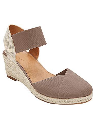 Nailyhome Womens Espadrilles Platform Wedge Sandals Closed Toe Elastic Closure Mid Heel - Heel Elastic