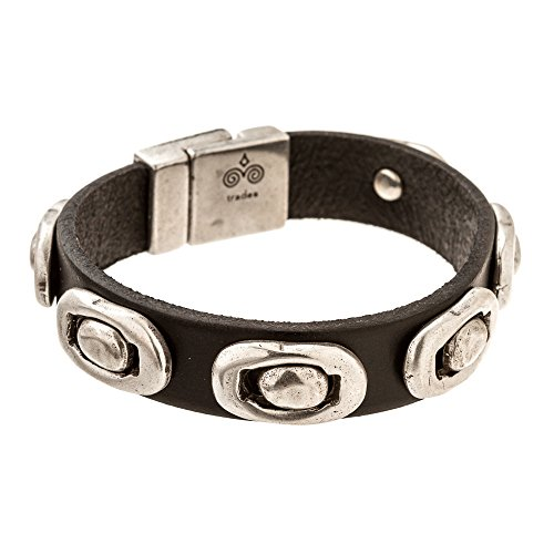 Trades by Haim Shahar Leather Men's Bracelet Magnetic Clasp Handmade in Spain Sterling Silver - Sterling Silver Bracelets Handmade
