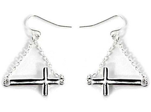 Beautiful Silvertone Cross Design Dangling Fish Hook Style Earrings (with Gift Box) by Fashion