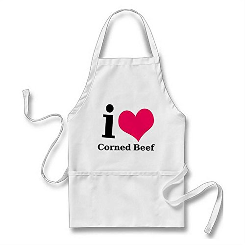Starings Funny Aprons I Love Corned Beef Adult Apron with Pockets, White