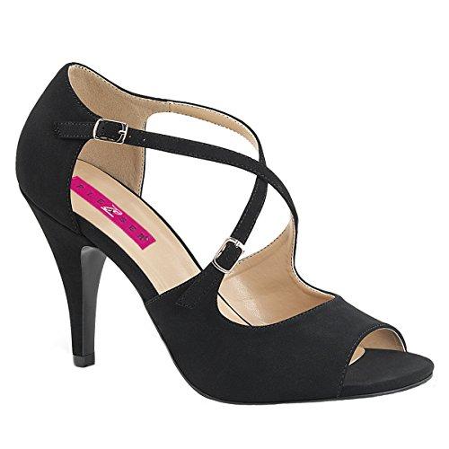 Pink Label Big size Crisscross Sandaletten Sandalen Dream-412 schwarz Nubuk Schwarz