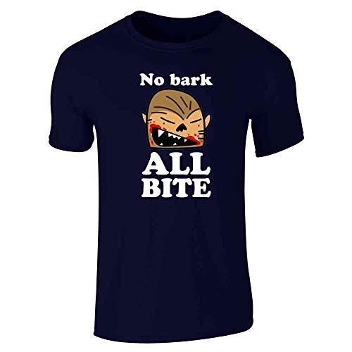 No Bark All Bite Werewolf Cartoon Halloween Navy Blue L Short Sleeve T-Shirt]()