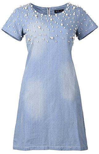 QZUnique Women's Plus-Size Slim Fit Fashion Casual Denim Dress Embellished with Pearls 2XL