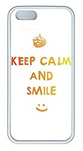 D Keep Calm And Smile Cover Case Skin for iPhone 5 5S Soft TPU White