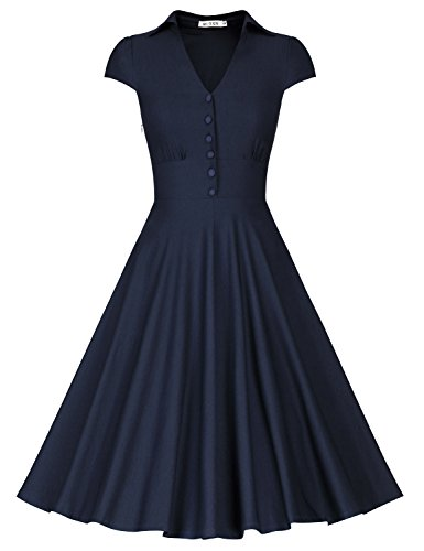 MUXXN Women's Cut Out Neck Tea Length Housewife Garden Picnic Dress (Blue XL)