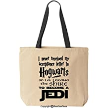 I Never Received My Acceptance Letter To Hogwarts Parody Funny Reusable Canvas Tote Bag by BeeGeeTees (Black Handle)