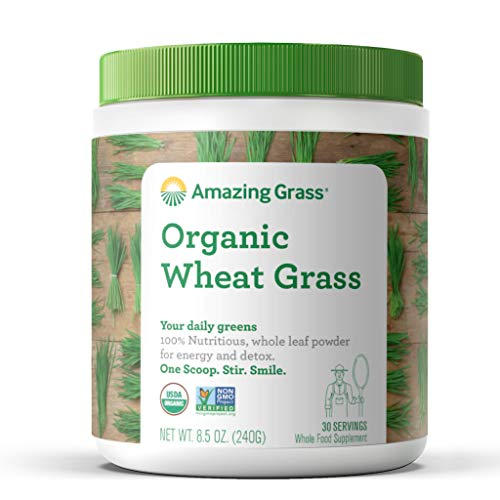 Grass Diet Wheat - Organic Wheat Grass Powder, by Amazing Grass 30 Servings, 8.5oz, Greens, Detox, Alkalize, whole leaf, Gluten Free, USDA Organic, GMO Free, Kosher, wheatgrass, vegan