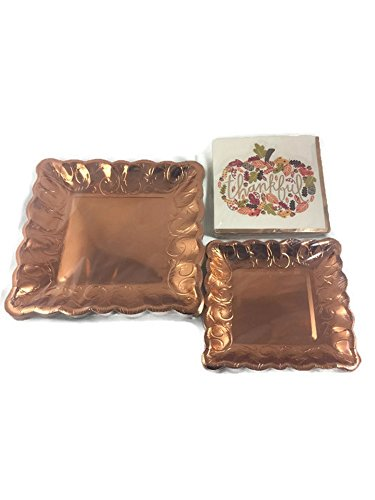 Deluxe Fall Thanksgiving Party Plates and Napkins Bundle - 3 Items - Dinner Plates & Napkins, Dessert Plates