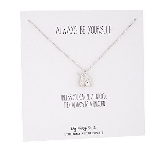 My Very Best Always Be Yourself Unicorn Necklace (silver plated brass) (Unicorn Womens)