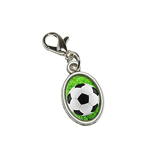 Graphics and More Soccer Ball on Grassy Field Antiqued Bracelet Pendant Zipper Pull Oval Charm with Lobster Clasp