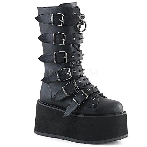 Demonia Women's Damned-225 Mid Calf Boot, Black Vegan Leather, 9 M (225 Leather)