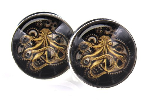 Steampunk   Gears Octopus   Mens Cufflinks Cuff Links   Groomsmen Wedding Squid Octo