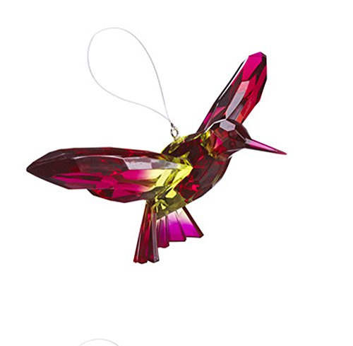 Ganz Crystal Expressions Ornament - Hanging Two-Toned Hummingbirds (Fuschia/Green)