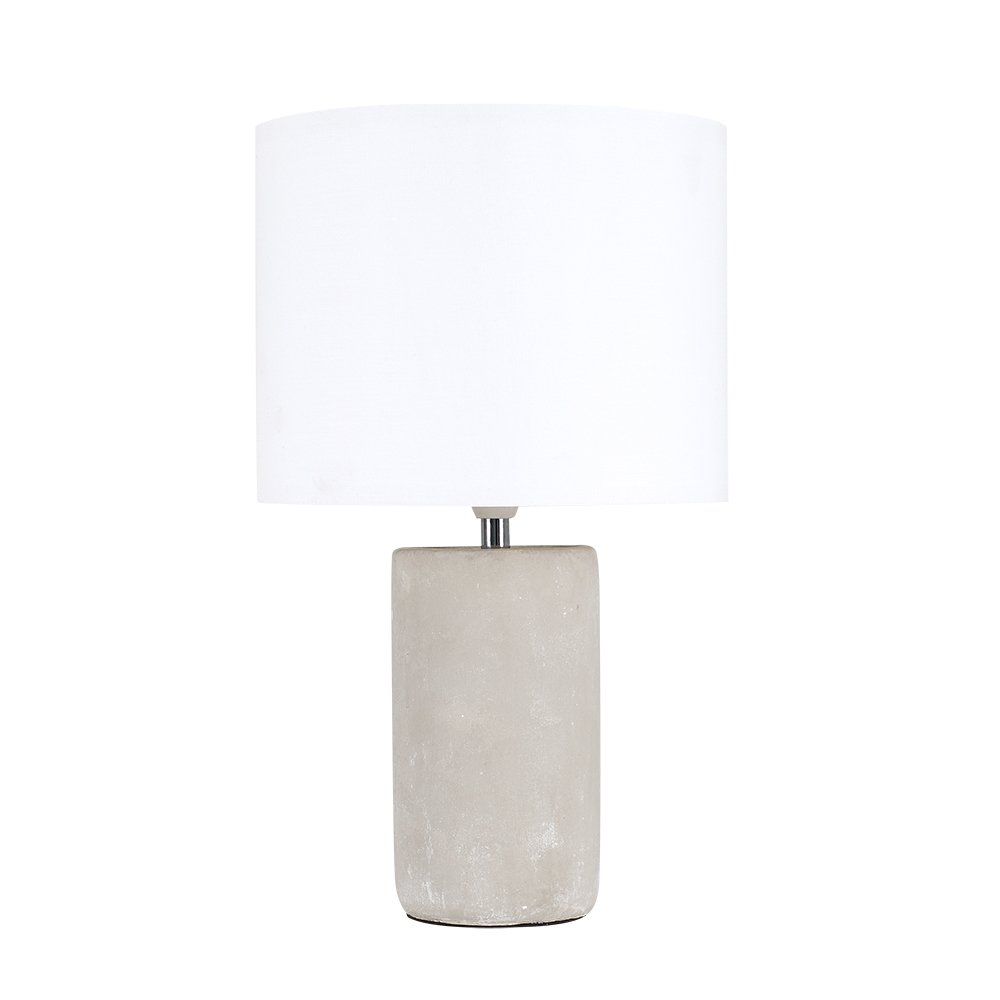 734c1e80f24f Modern Cement/Stone Effect Ceramic Table Lamp with a Cream Cylinder Light  Shade: Amazon.co.uk: Lighting