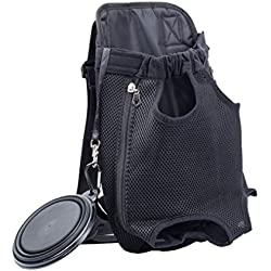Pet Carrier Outdoor Travel Mesh Bag Convenient Backpack with a Portable Collapsible Pet Bowl, Fits for Mens Womens (L, Black)
