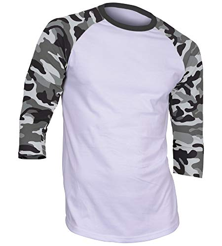DREAM USA Men's Casual 3/4 Sleeve Baseball Tshirt Raglan Jersey Shirt White/Lt Gray Camo 2XL