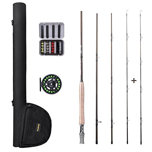 PLUSINNO Fly Fishing Rod and Reel Combo,5/6 9'Lightweight Ultra Portable Graphite Fly Fishing Pole with Toray Carbon Fiber Blanks ,Chromed Stainless Steel Snake Guides 4-Piece (Fishing Fly Guide Net)